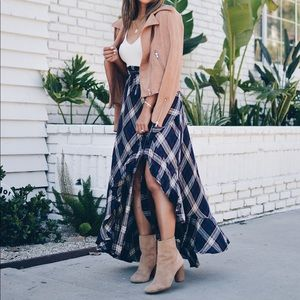 Dresses & Skirts - Plaid side tie maxi skirt